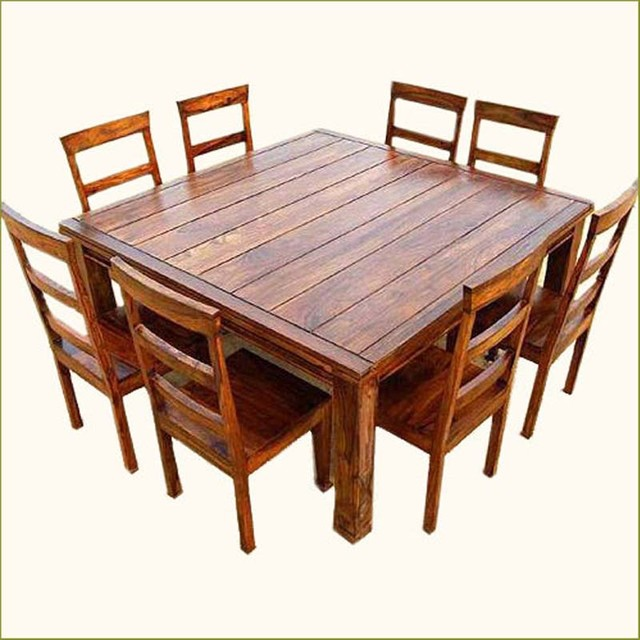 Rustic 9 Pc Square Wood Dining Table And Chair Set Traditional