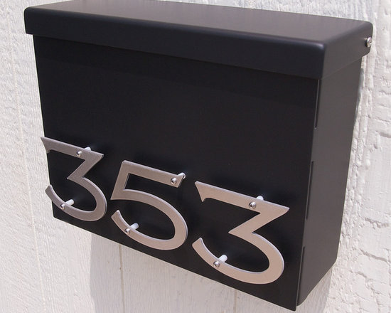 Custom Victorian Floating House Number Mailbox No. 1310 in Black -