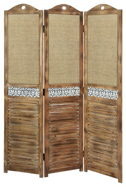 Rustic wooden screen with ornate metal accents beach