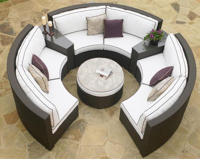 Circular Patio Sectional Dark Wicker Modern Outdoor