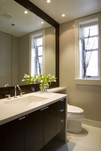 Awesome Recessed Bathroom Lighting Fixtures Over Vanity With Linen Recessed