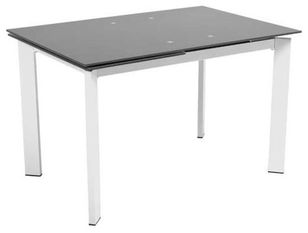Eurostyle Turi Extension Glass Dining Table w/ Chromed Steel Base modern-dining-tables