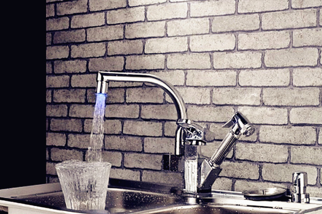 Modern Style LED Kitchen Faucet Silver modern-kitchen-faucets