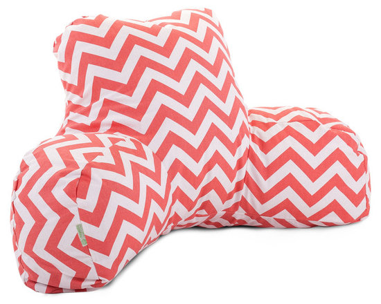 Majestic Home - Indoor Coral Chevron Reading Pillow - That bestseller is about to get a lot better. This reader pillow, a smart reinvention of the beanbag, gives you the support you need to read, watch TV or simply relax in style. Plus, the cotton twill slipcover zips off for easy machine washing.