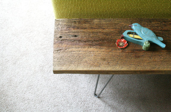 Modern Reclaimed Elemental Wood Bench by Birdloft modern benches