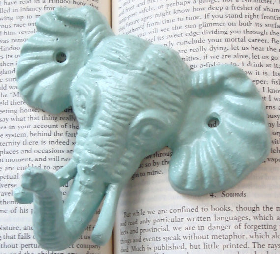 Elephant Wall Hook, Pastel Mint Green by Juxtapositions eclectic-wall-hooks