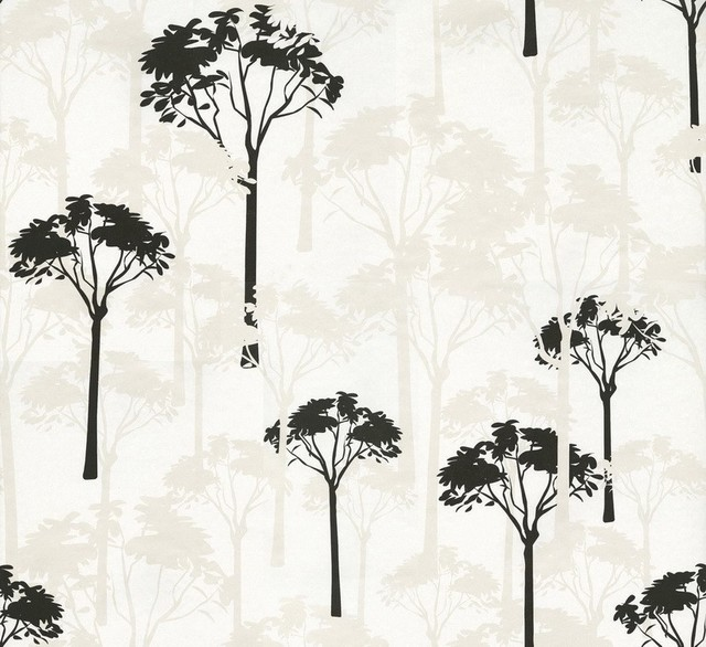 Athena - Trees Wallpaper, Black, White contemporary-wallpaper