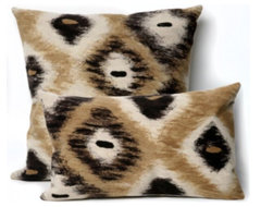 Ikat Diamonds Black Outdoor Pillow  outdoor pillows