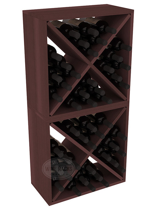 "Wine Racks America - 48 Bottle Wine Cube Collection in Premium Redwood, Walnut Stain - Two versatile 24 bottle wine cubes. Perfect for nooks, crannies, and converting that ""underneath"" space into wine storage. Mix and match finishes for a modern wine rack twist. Popular for its quick and easy assembly, this wine rack kit is a perfect storage solution for beginners and experts."