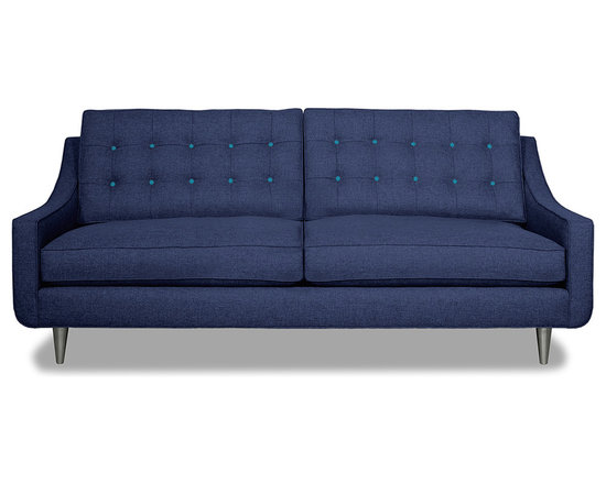 Apt2B.com - Cloverdale Sofa Navy Navy/Ocean Blue - This cozy sofa is as comfortable as it is sophisticated. With an unexpected pop of color in the button tufting and a nice deep seat it's a perfect place to cuddle up with your date.