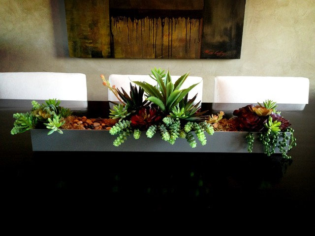 Succulent centerpieces contemporary home decor other for Contemporary dining room table centerpieces