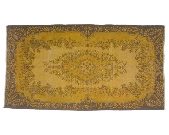 Shades of Gold Overdyed Vintage Carpet - Bright color with hints of underlying pattern revive well-loved vintage Turkish carpets into a truly fabulous area rug.