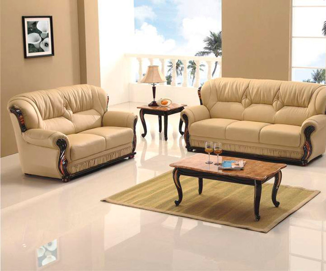 Transitional Living Room Furniture : Honey Sofa Set with Wood Accents - Transitional - Living ...