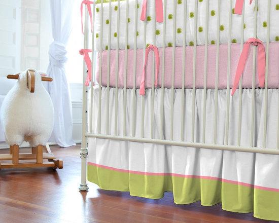 Lime and Pink Paisley Crib Skirt -