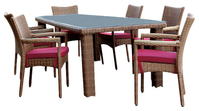 South Beach Patio Outdoor Wicker Dining Set of 7 tropical-furniture