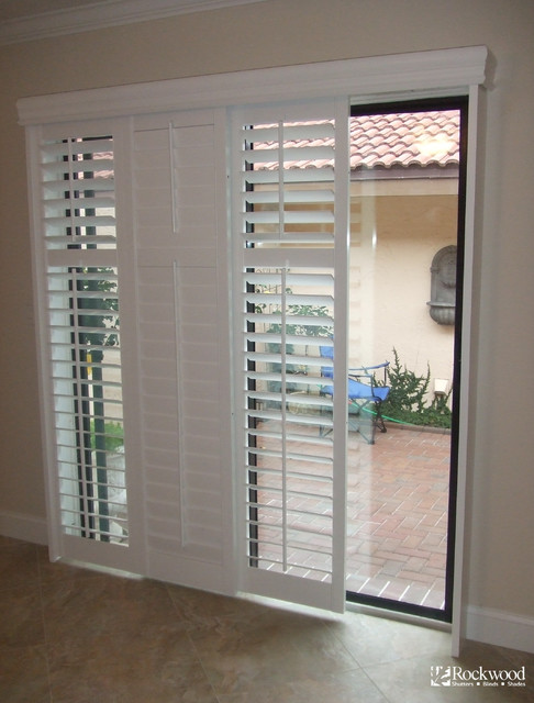 Plantation Shutters For Sliding Glass Door Traditional