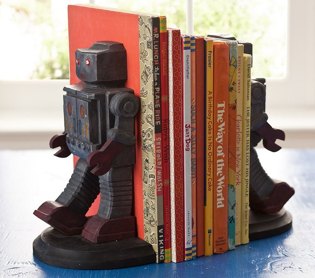 Robot bookends pottery barn kids traditional kids for Robot baby room decor