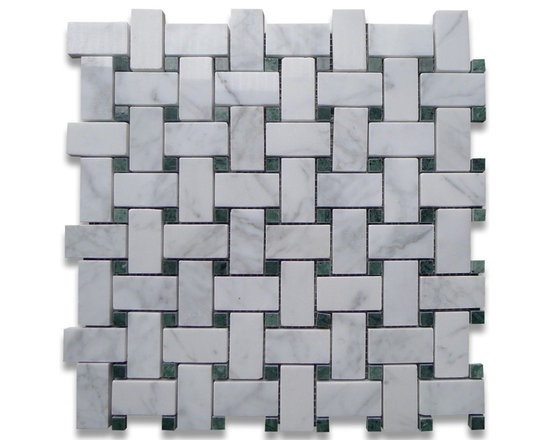 """Stone Center Corp - Carrara Marble Basketweave Mosaic Tile Green Dots 1x2 Polished - Carrara white marble 1"""" x 2"""" rectangle pieces and Ming Green 3/8"""" dots mounted on 12"""" x 12"""" sturdy mesh tile sheet"""