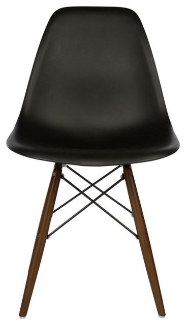 Dsw black mid century modern plastic dining shell chair w dark walnut