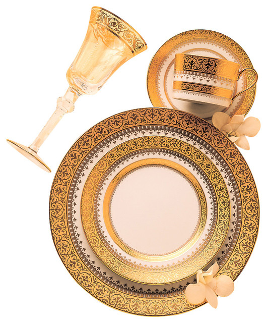 Imperial Gold Rim Soup Plate Traditional Dinnerware