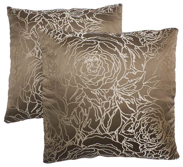 18-inch Taupe Decorative Pillows (Set of 2) modern-bed-pillows