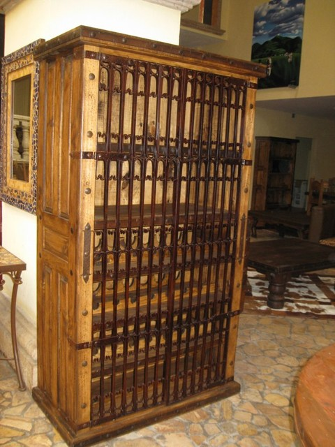 Las Haciendas Iron Gates Wine Rack Cabinet - Traditional - other metro - by The Rustic Gallery