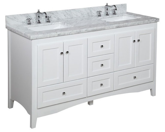 Kitchen Bath Collection - Abbey 60-in Double Sink Bath Vanity (Carrara/White) - This bathroom vanity set by Kitchen Bath Collection includes a white Shaker-style cabinet with soft close drawers and self-closing door hinges, Italian Carrara marble countertop, double undermount ceramic sinks, pop-up drains, and P-traps. Order now and we will include the pictured three-hole faucets and a matching backsplash as a free gift! All vanities come fully assembled by the manufacturer, with countertop & sink pre-installed.