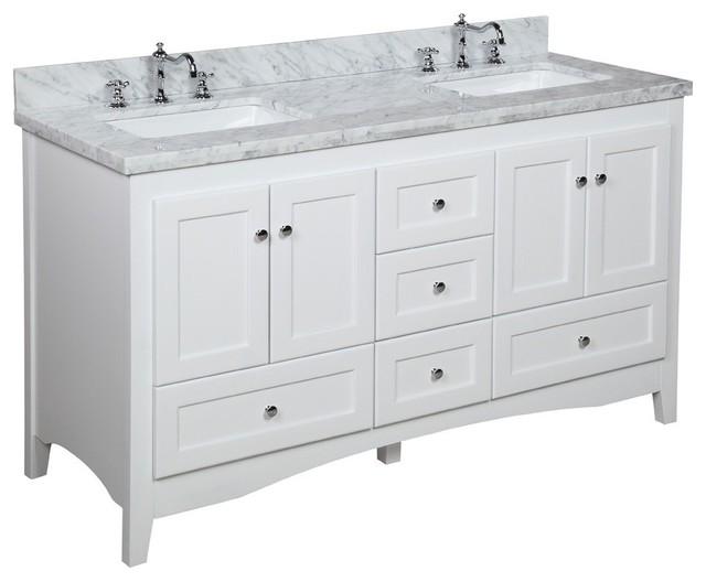 Abbey Double Sink Bath Vanity CarraraWhite