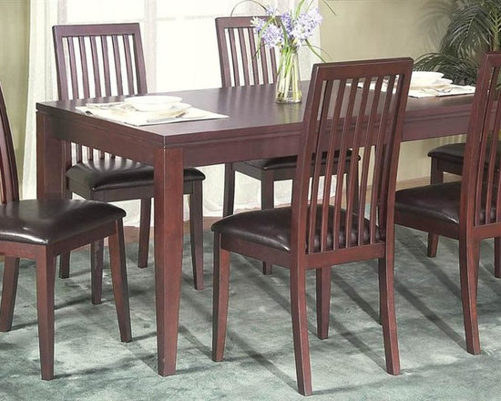 Alpine Furniture - Anderson 7-Pc Extension Dinette Set - Includes dining table and six chairs. Table with removable leaf. Side chair with bicast cushion seat. Six months warranty. Made from rubber wood solids and veneers. Medium cherry finish. Made in Vietnam. Table minimum: 54 in. L x 38 in. W x 30 in. H. Table maximum: 66 in. L x 38 in. W x 30 in. H. Seat height: 20 in.. Chair: 20 in. W x 19 in. D x 40 in. HEmmy award winning TV show clean house on the style network.