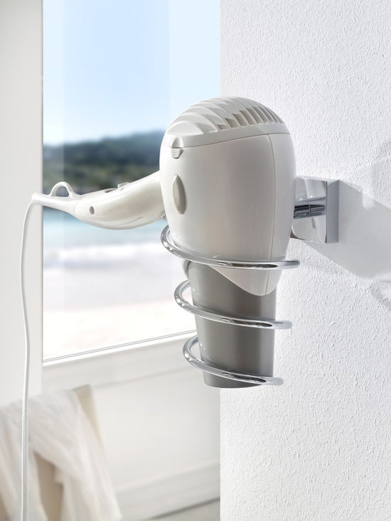 Bath Accessories- no drilling required! - Wall mount hair dryer holder attaches without drilling using a patented mounting hardware system by nie wieder bohren Germany. Designed for tile, stone, glass, metal, mirror, wood and most plastics. Ideal for mounting inside cabinets, direct to mirror or wall mount on tile. Removable as needed with no damage to the surface.