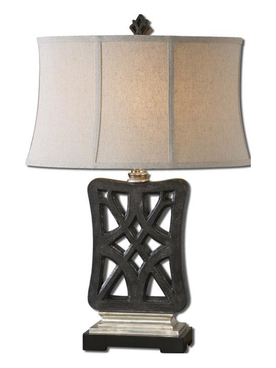Uttermost Chioma - Crackled matte black finish with silver leaf details. The oval semi-bell shade is an oatmeal linen fabric.