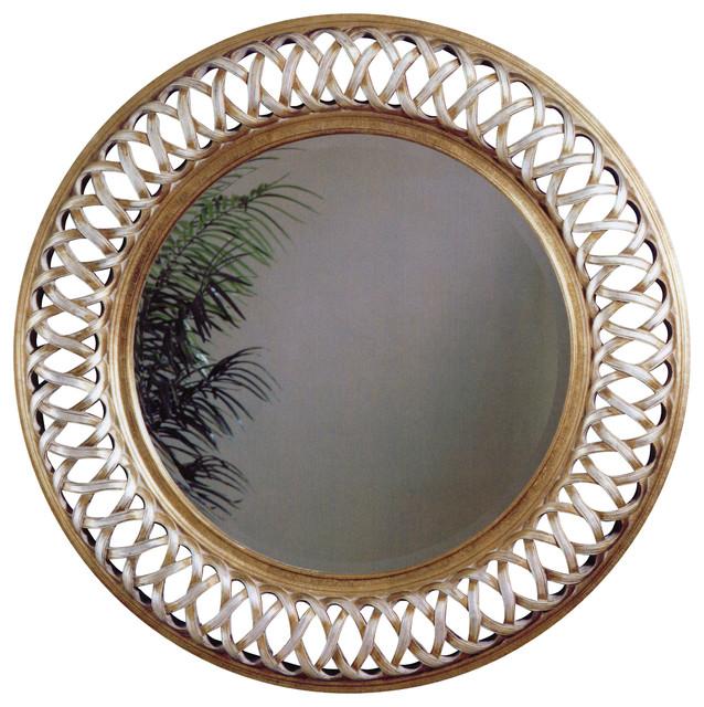 Silver leaf round wall mirror mediterranean mirrors