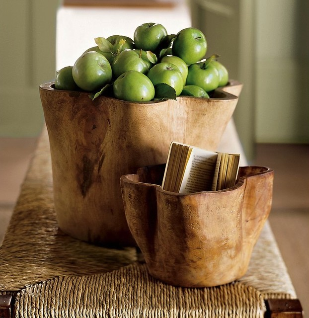 Hand-Carved Wood Vessel contemporary-tabletop