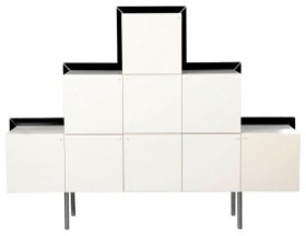 Ziggurat White Lacquer Cube Credenza, Italy, c1980 modern-dressers-chests-and-bedroom-armoires