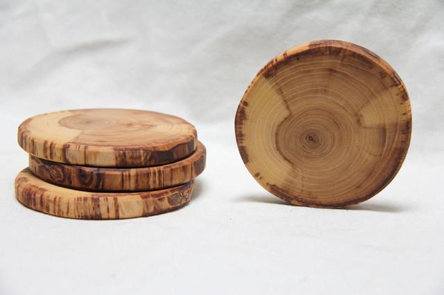 Cream and Tan Natural Wood Coasters by The Woodlot rustic-barware