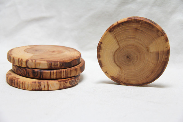 Cream and Tan Natural Wood Coasters by The Woodlot traditional barware