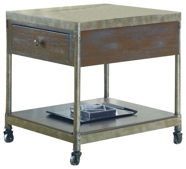 Hammary Structure Drawer End Table With Casters