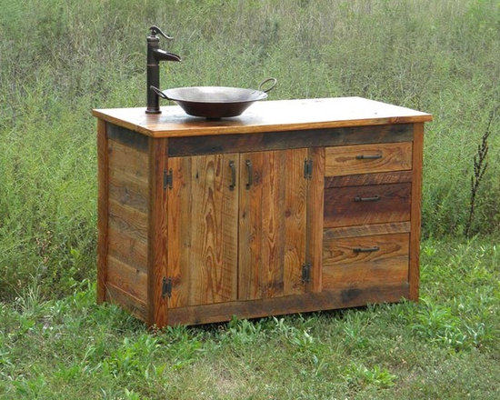 Barn Sink Dimensions : Bathroom vanity with vessel sink and faucet built with reclaimed barn ...