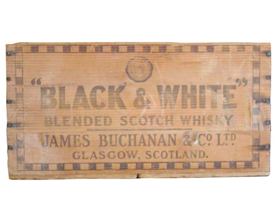 """Black and White Brand Whiskey Crate - Wooden whiskey crate, reads """"James Buchanan and Co. LTD. Glasgow, Scotland."""