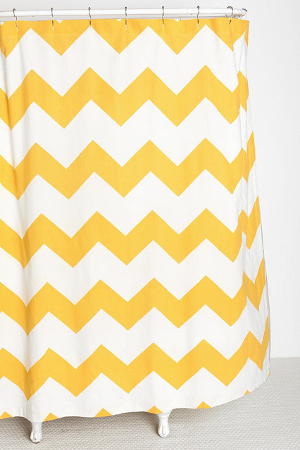 Zigzag shower curtain yellow contemporary shower curtains