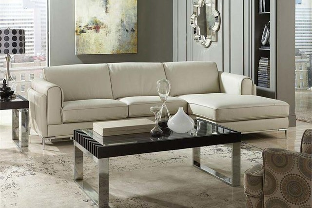 Homelegance Modern Small Beige Top Grain Leather Sectional