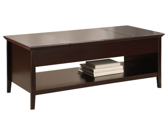Altra Furniture - Altra Furniture Lift Top Coffee Table in Espresso - Altra Furniture - Coffee Tables - 5166096 - with this extension coffee table you can bring your work surface to you! Did we mention, extension and bringing the work surface to YOU? Now you can relax on the couch and surf the net at your leisure, or eat your dinner without missing your favorite reality TV show, with this convenient extending surface. There's also 2 covered storage compartments on each side to store magazines, DVDs, remote controls, or whatever else you want hidden from your guest.
