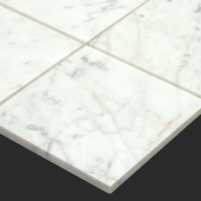 Bianco Carrara White Marble Carrera 6x6 Tile Modern