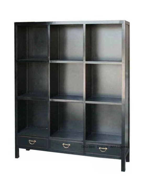 Black Chinese Multiple Shelves Display Bookcase Cabinet - Look at this elegant display cabinet which is made of elm wood. It has many shelves to display your statuses or vases. It can be also used as bookcase cabinet. It is perfect to put into your living room.