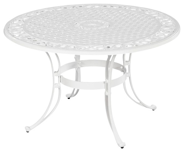 """Home Styles Biscayne 48"""" Round Dining Table in White Finish transitional-outdoor-tables"""