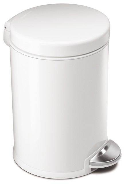 Round step can white steel modern trash cans by simplehuman - White kitchen trash cans ...