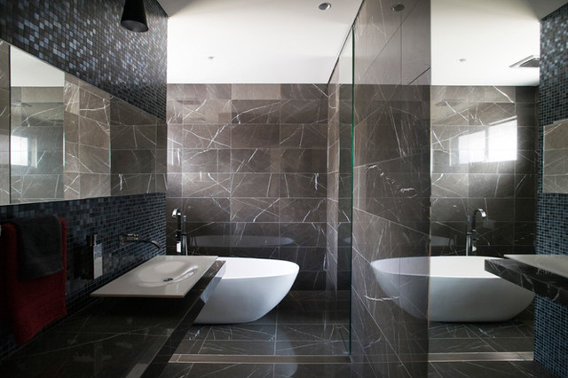 Pietra Grey Marble Bathroom With Stunning