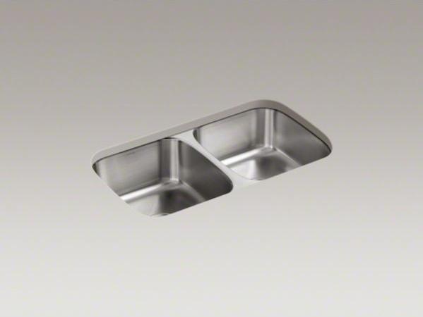 "KOHLER Undertone(R) 31-1/2"" x 17-3/4"" x 8"" under-mount double-equal bowl kitchen contemporary-kitchen-sinks"