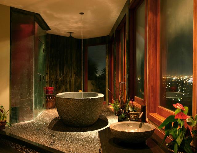 Conteporary Tropical Bath Tropical Bathroom Los