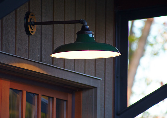 vintage garage lighting closeup transitional outdoor